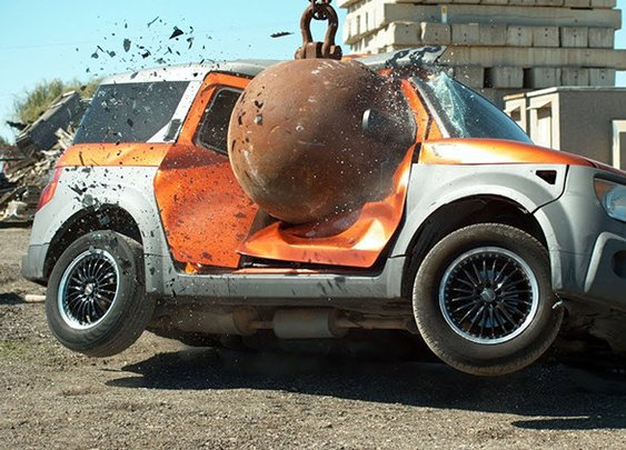 Destroying Vehicles With a 4 Ton Wrecking Ball in Slow Motion
