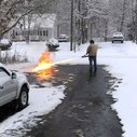 Virginia Man Uses a Flamethrower to Melt Away the Snow From His Driveway