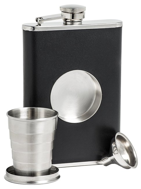 Flask with Built-in Collapsible Shot Glass
