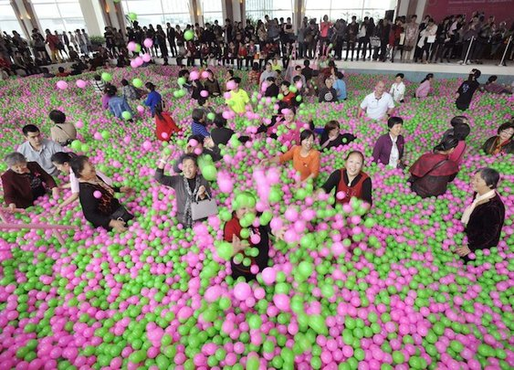 World's Largest Ball Pit in China Benefits Breast Cancer Awareness