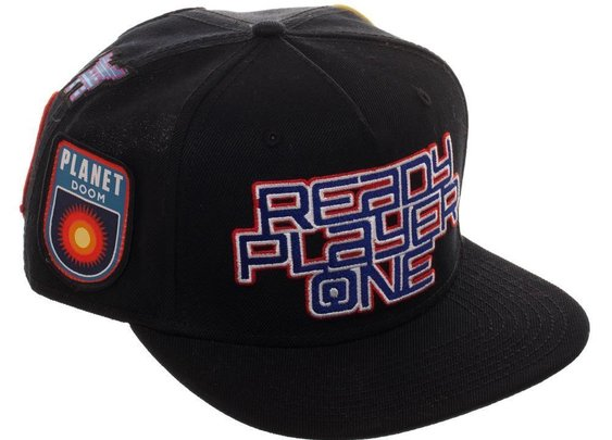 Ready Player One Logo Flat Bill Cap, Patch Black Snapback with Gamer P – Adult Swim Time