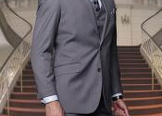 Mens Extra Long Vested Three Piece Wool Suit In Charcoal Color