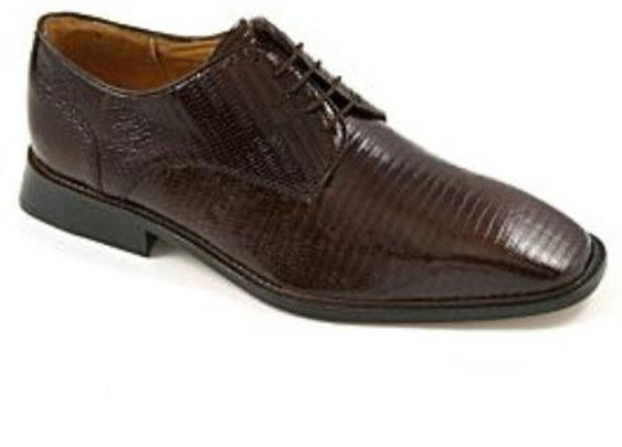 Fully Leather Lined Genuine Lizard Shoe With  Cushioned Leather Insole In Brown Color
