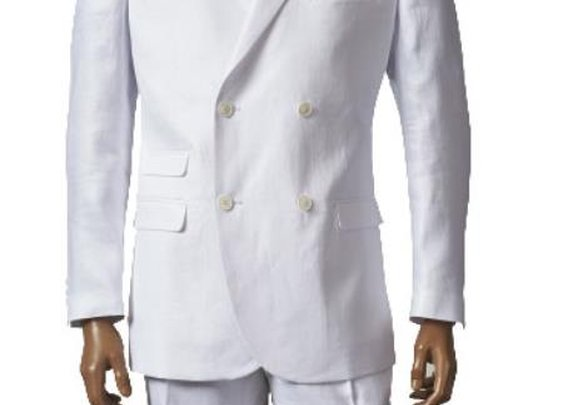 Double Breasted Linen Suit Blazer And Flat Front Pants In White Color For Men