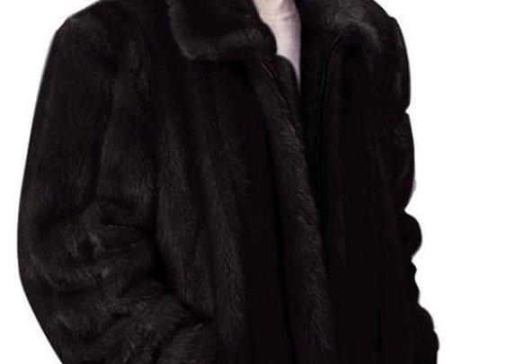 Stylish Faux Fur 3/4 Length Coat In Black For Menswear