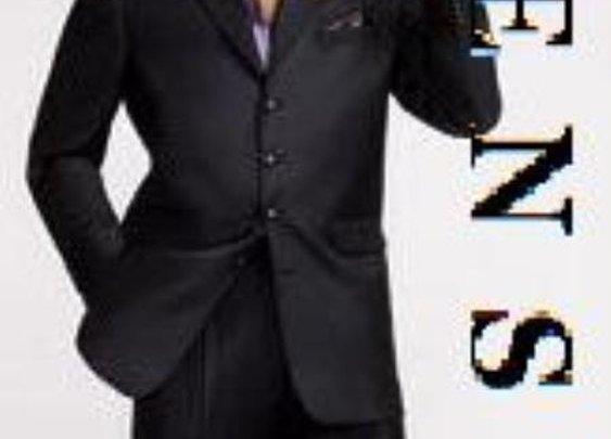 3 Buttons Black Wide Leg Extra Fine Wool Suit For Men