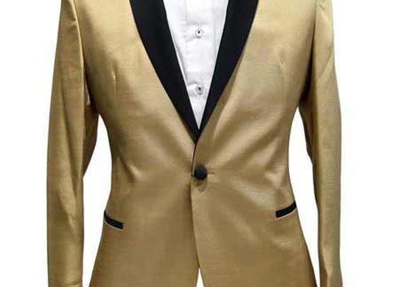 Get Golden Colour Tuxedo Dinner Jacket With Black Shawl Lapel
