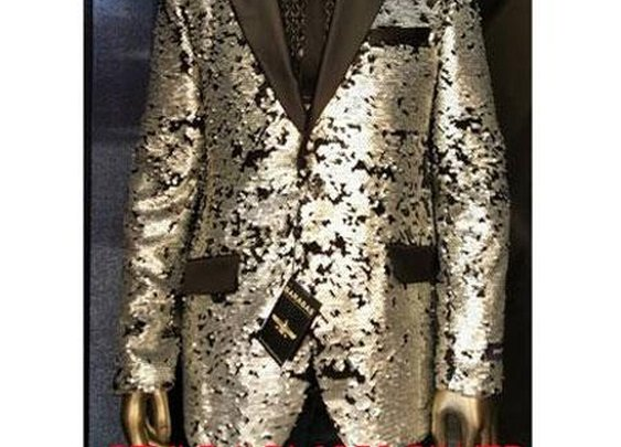 Fashionable Shiny Sequin Paisley Blazer In Silver Color For Men