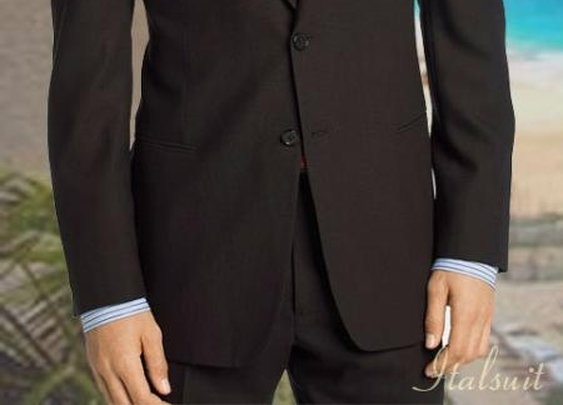 Classic Fit Jacket And Pleated Pant With 2 Buttons In Charcoal Color For Men