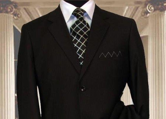 Get 2 Button Pinstripe Suit For Men In Black Color
