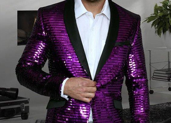 Shiny Sequin Paisley Blazer With Peak Lapel For Men In Purple Color