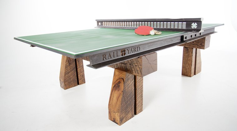 Ping Pong Table Made From Reclaimed Railroad Pieces
