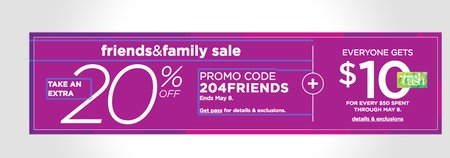 Kohls 20% + $10 Off Friends and Family Sale
