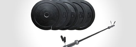 Lifeline Olympic Bar and Rubber Bumper Plates