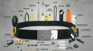 Survival Belt With Flashlight,  Wire Saw, Fishing Hooks and More