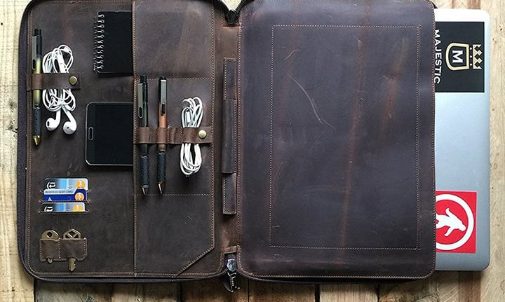 Distressed Leather Laptop Organizer