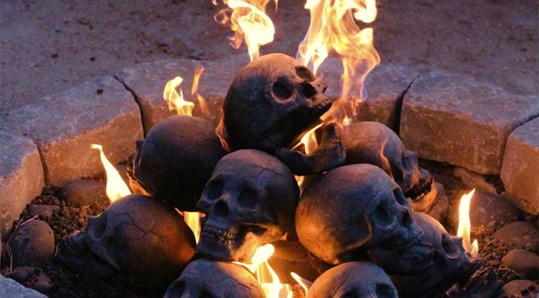 Human Skull Fire Pit Logs