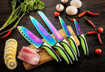 Rainbow Titanium 5-Piece Kitchen Knife Set