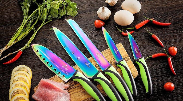 Rainbow Titanium 5-Piece Kitchen Knife Set