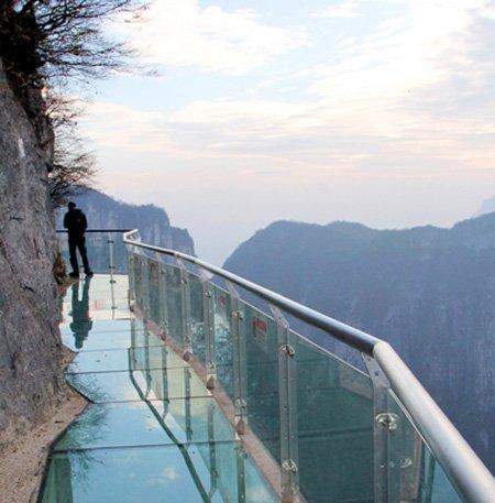 Glass mountain walkway in China