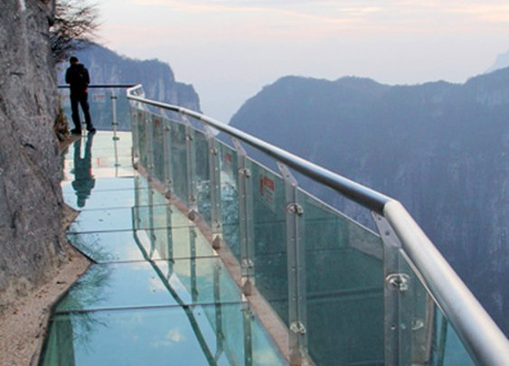 Glass mountain walkway in China