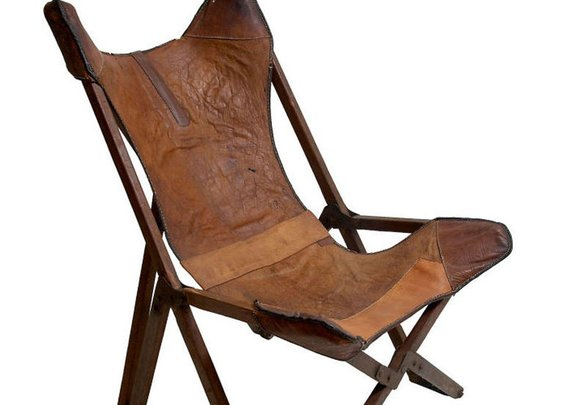 Antique leather folding chair