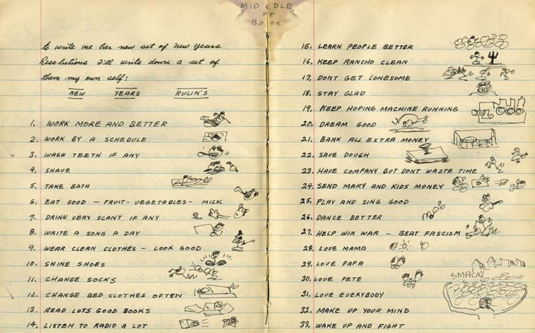 Woody Guthrie's 1942 New Year's Resolutions