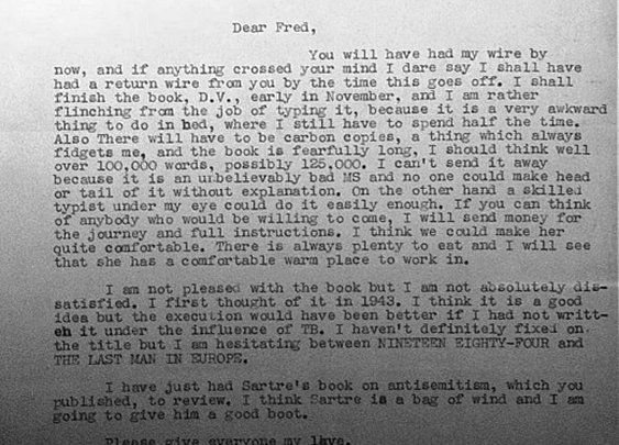 George Orwell's letter to his editor