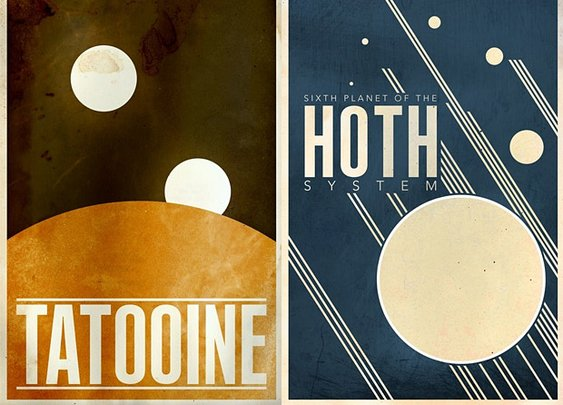 Minimalist Star Wars Planet Prints