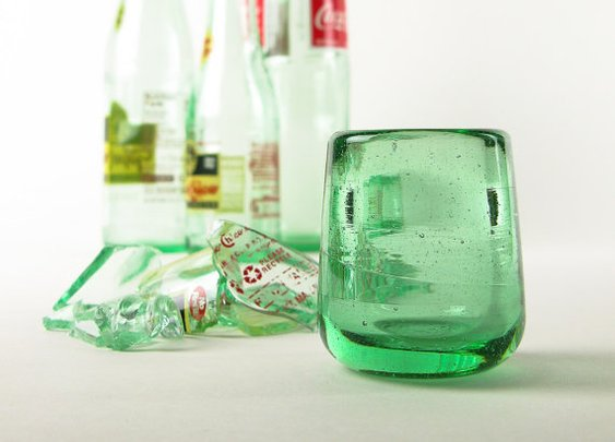 Shot Glass Recycled Blown Bottle Glass