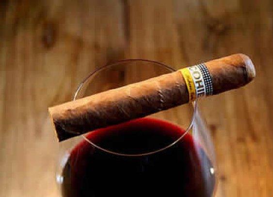 Cohiba and red wine