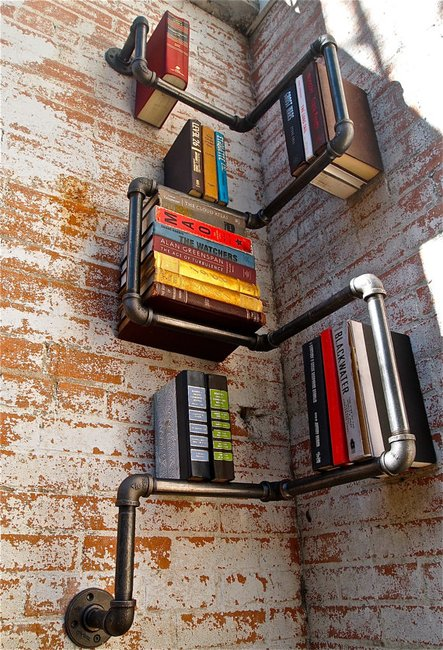 The Industrial Pipe Bookshelf: Cast Iron Shelving - Unfinished Man