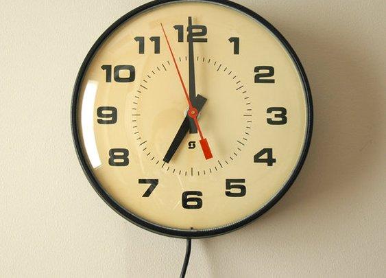 Vintage Industrial School Wall Clock Electric