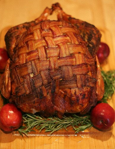 Bacon-Blanketed, Herb Roasted Turkey