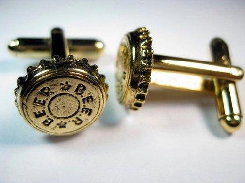 Gold Beer Bottle Cap Cufflinks
