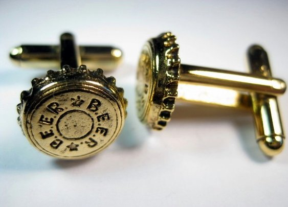 Gold Beer Bottle Cap Cufflinks