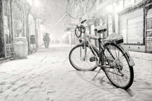 The Bicycle is Art — snowy …
