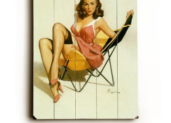 Beach Chair Pin Up Girl Wood Sign at Art.com