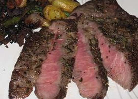 Mesquite-smoked flat iron steak