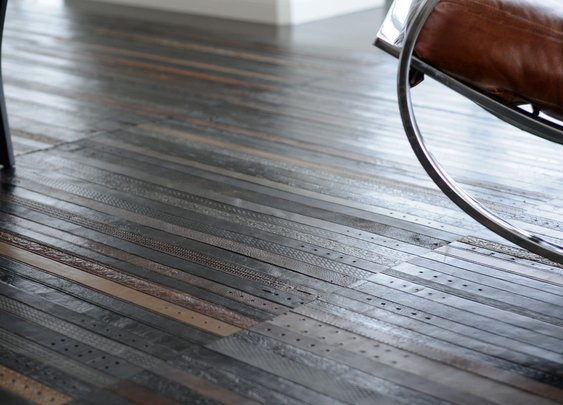 Repurposed | Leather Belt Flooring