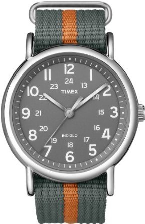 Timex Men's T2N649KW Weekender Gray and Orange Slip Through Strap Watch: