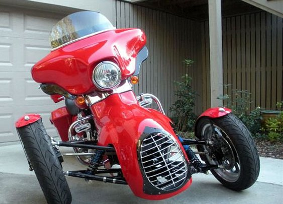 TRT – the Tilting Reverse Trike Harley Conversion from Too Kool Cycles