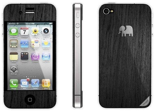 Trunket iPhone Wood Skin - American Rosewood - Jet Black