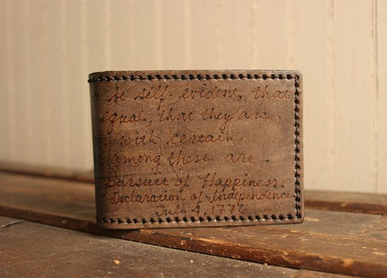 Leather Bifold Wallet with custom quote