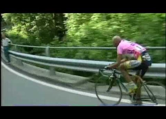Marco Pantani comes back from flat...