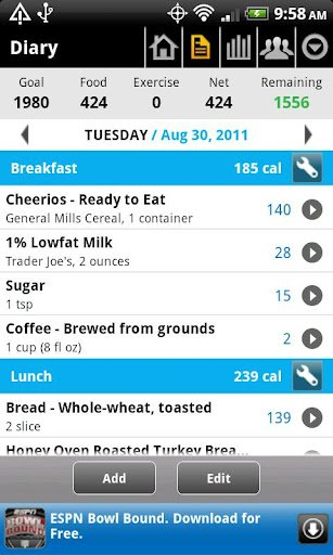 MyFitnessPal app for android.