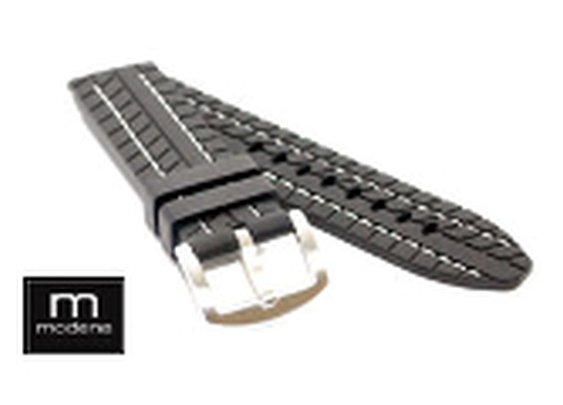22mm Tire Tread MODENA Rubber Watch Band w/ White Stitching - www.ModenaWatch.com