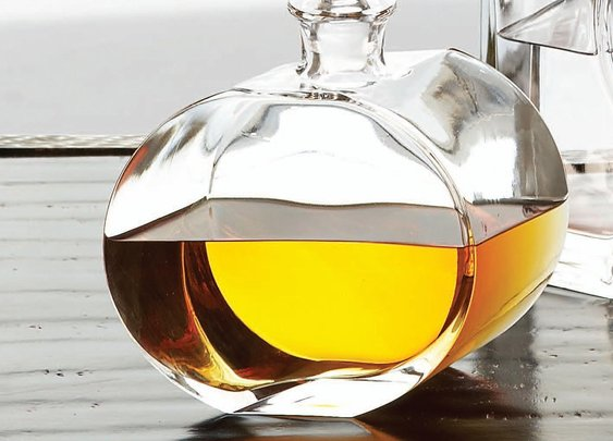 Global Views Offset Shape Round Glass Decanter - Decanters and Pitchers at Barware