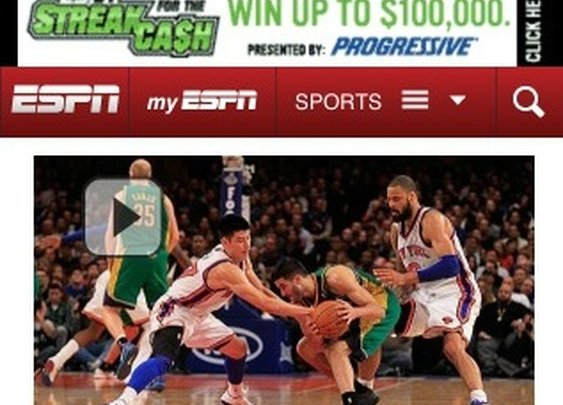 ESPN Mobile calls Knicks' loss 'Chink in the armor' (Picture) | Larry Brown Sports