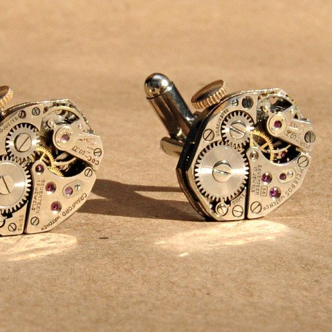 Jeweled Hex Cufflinks with Stems